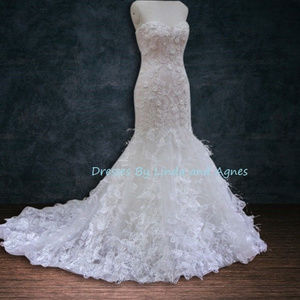 Dresses & Skirts - 3D Beaded lace mermaid wedding dress with feathers